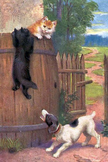 BLACK CAT in basket and 2 PUPPY Dog Play Russian Unposted Postcard