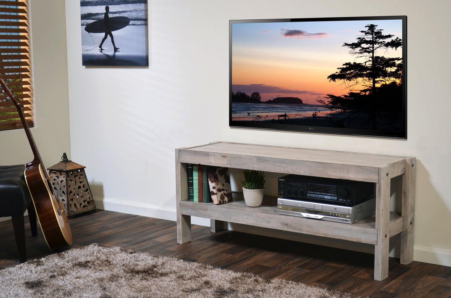 Gray Beach House Coastal Reclaimed Wood Tv Stand Presearth Driftwood