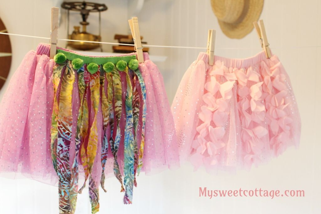 Easy DIY Toddler Dress-Up: Tutus.  Inexpensive but soft and comfy tutus from Macy's were converted to dress-up tutus bu adding some fun details.