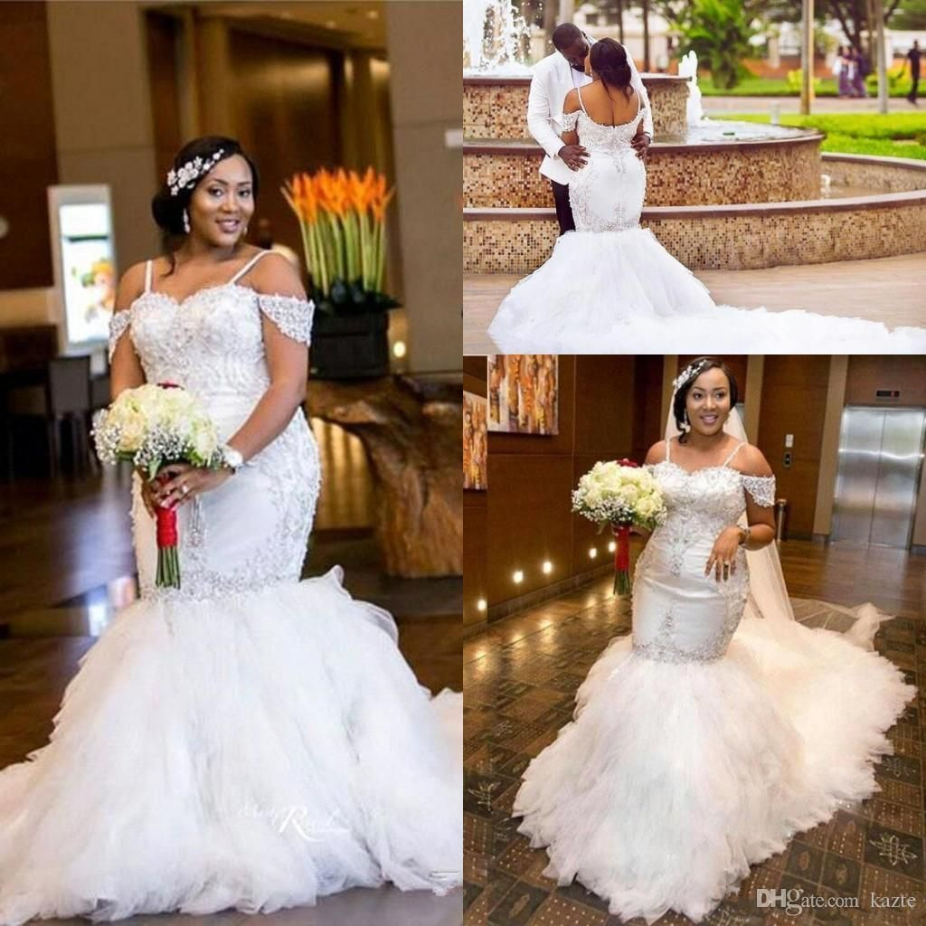 Sexy african plus size mermaid offshoulder wedding dresses