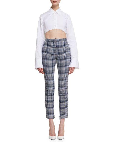 ddbb57232f1c42 OFF-WHITE Cropped Plaid High-Waist Pants, Blue. #off-white #cloth ...
