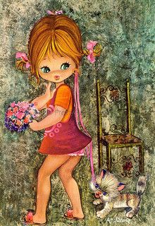 Sweet Big Eyed Girl, Vintage postcard from the 70s | par PrettyPostcards