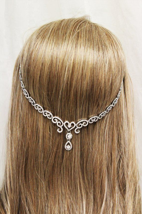 Wedding Hair Chain, Art Deco Hair Chain, Bridal Hair Piece, Crystal Hair chain, 1920s Headpiece, Art Deco Wedding accessories #hairchains