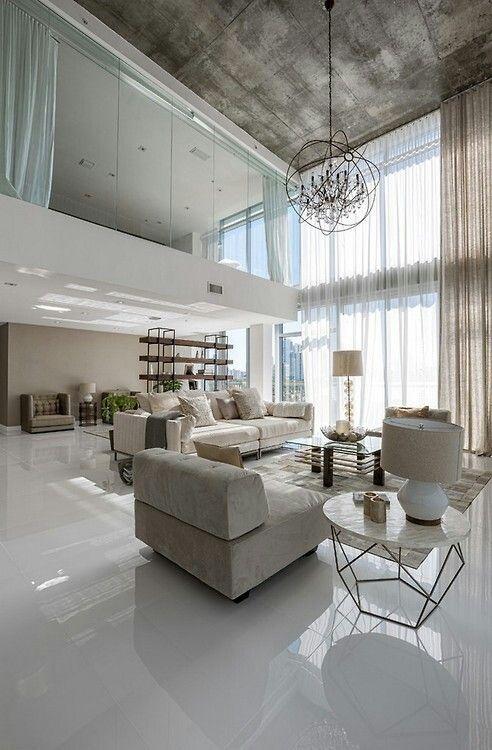 Open floor plan with above glass enclosed bedroom Apartment - hi tech loft wohnung loft dethier architecture