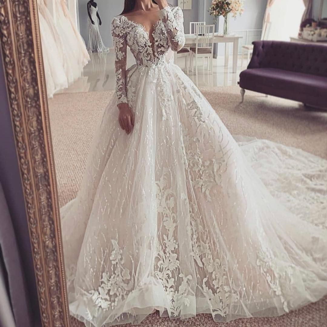 Custom Long Sleeve Wedding Dresses Ball Gowns Wedding Designer Wedding Dresses Bridal Dresses