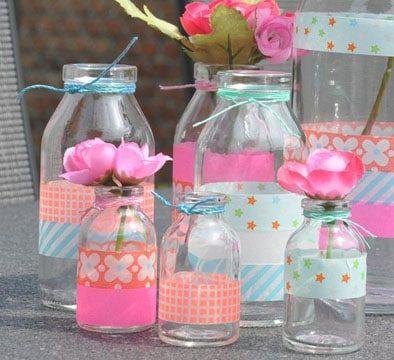 Frascos decorados para cumplea os para las mesas for Envases de vidrio decorados
