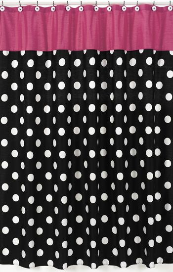 Pink Black U0026 White Polka Dot Fabric Shower Curtain #kidsroomstore $39.99