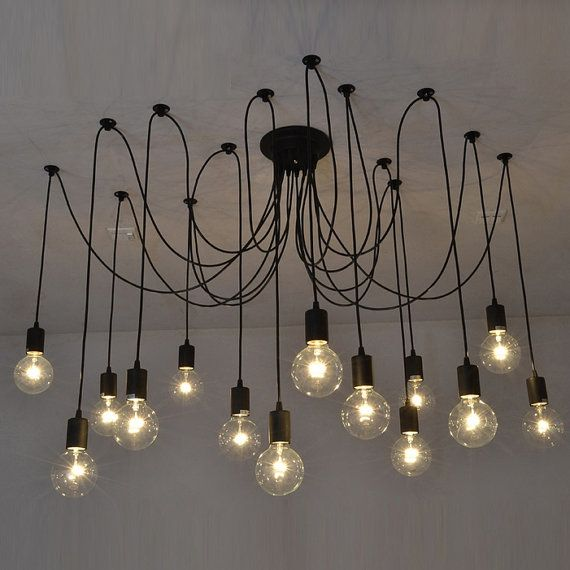 Pendant Swag Chandelier Black Modern Lighting Industrial Etsy Swag Chandelier Modern Chandelier Ceiling Lights
