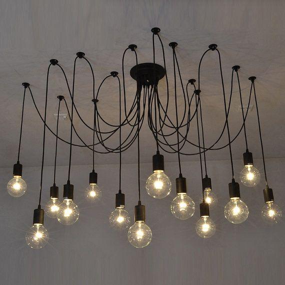 Pendant Swag Chandelier Black Modern Lighting Industrial Hanging