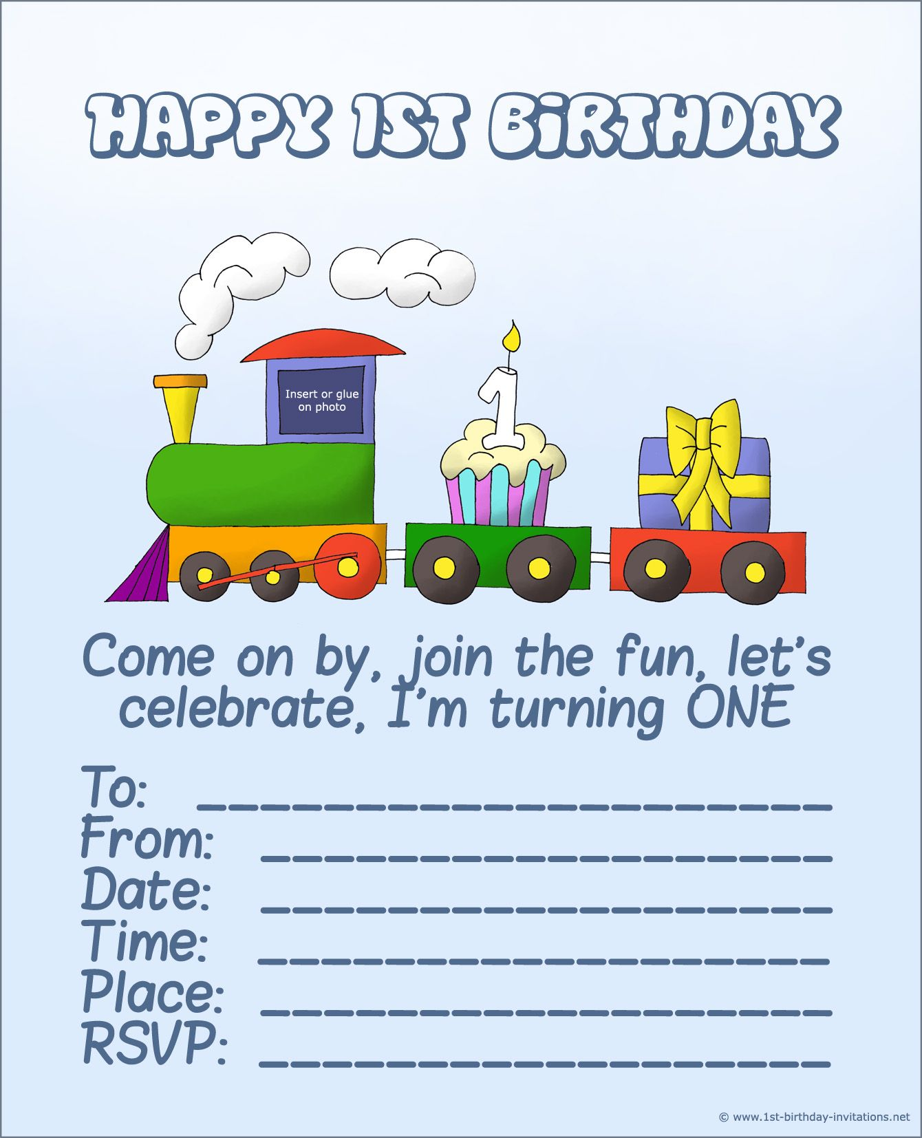 FREE Printable First Birthday Invitations For Boy Aurel