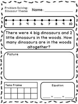 dinosaur theme addition subtraction word problems kindergarten first word problems. Black Bedroom Furniture Sets. Home Design Ideas