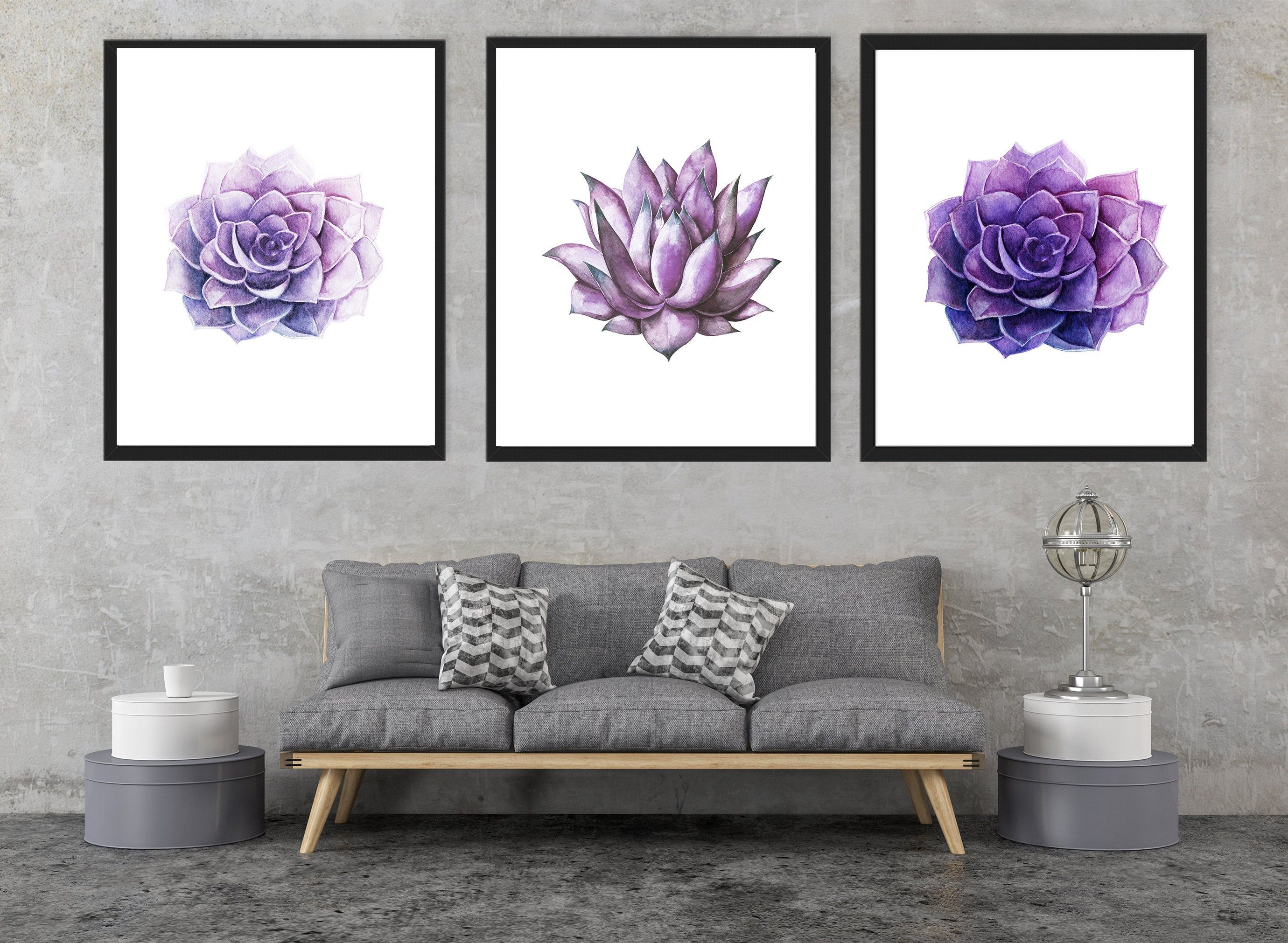 Purple Succulent Living Room Decor Purple Cactus Poster Etsy In 2020 Living Room Decor Purple Purple Decor Living Room Decor #purple #accessories #for #living #room