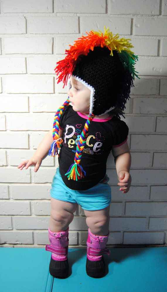 Rainbow+Mohawk+Crochet+Hat+Punk+Rock+Baby+Toddler+by+TORYmakes,+$ ...