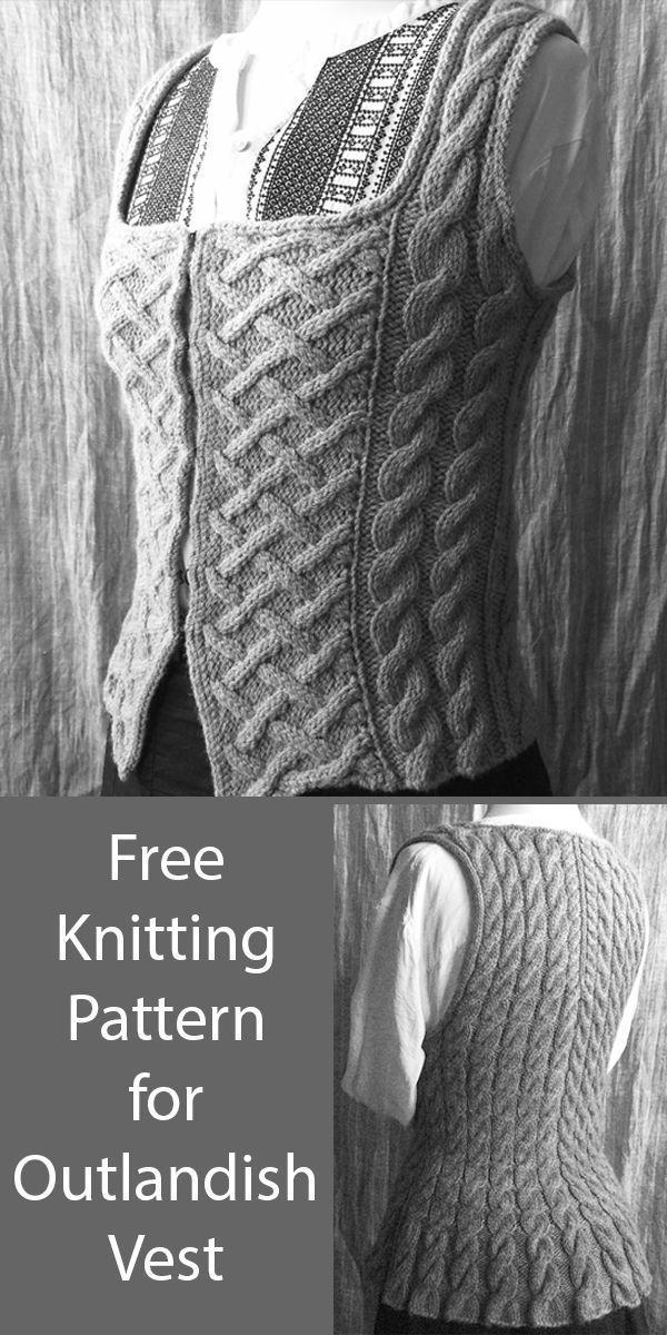 Patron de tricot gratuit pour Outlandish Vest en 4 tailles – – #Free #Knitting #Outla …   – Weihnachten stricken