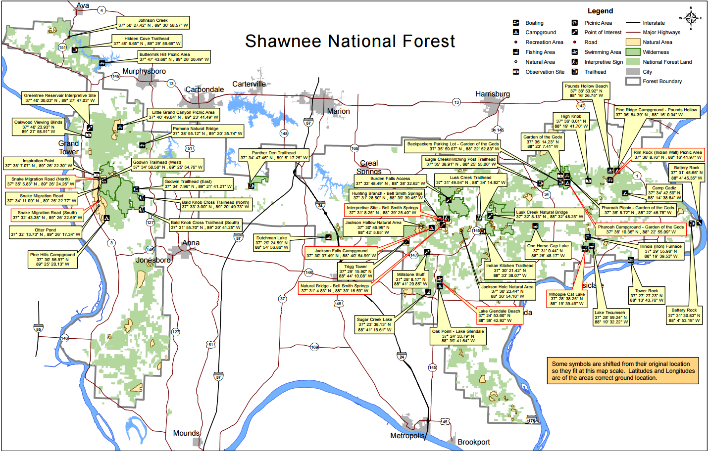 Shawnee National Forest, Map Shawnee national forest