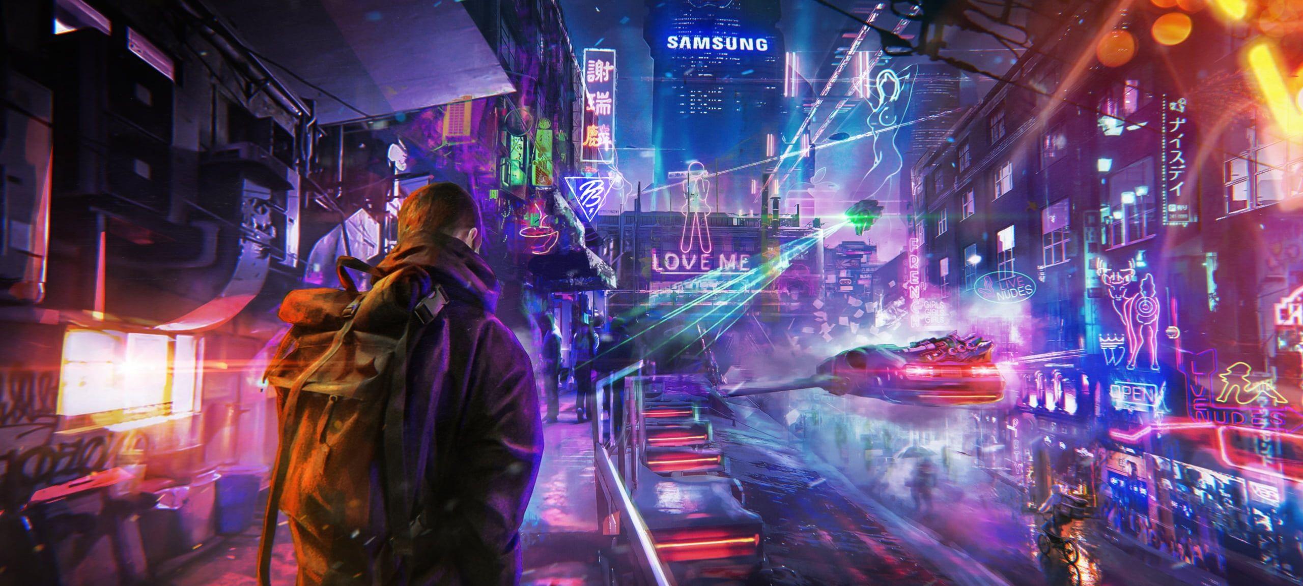 Men Jacket Backpacks Futuristic Futuristic City City Cyberpunk Artwork Digital Art Photoshop People Night S In 2020 Futuristic City Cyberpunk City Cyberpunk