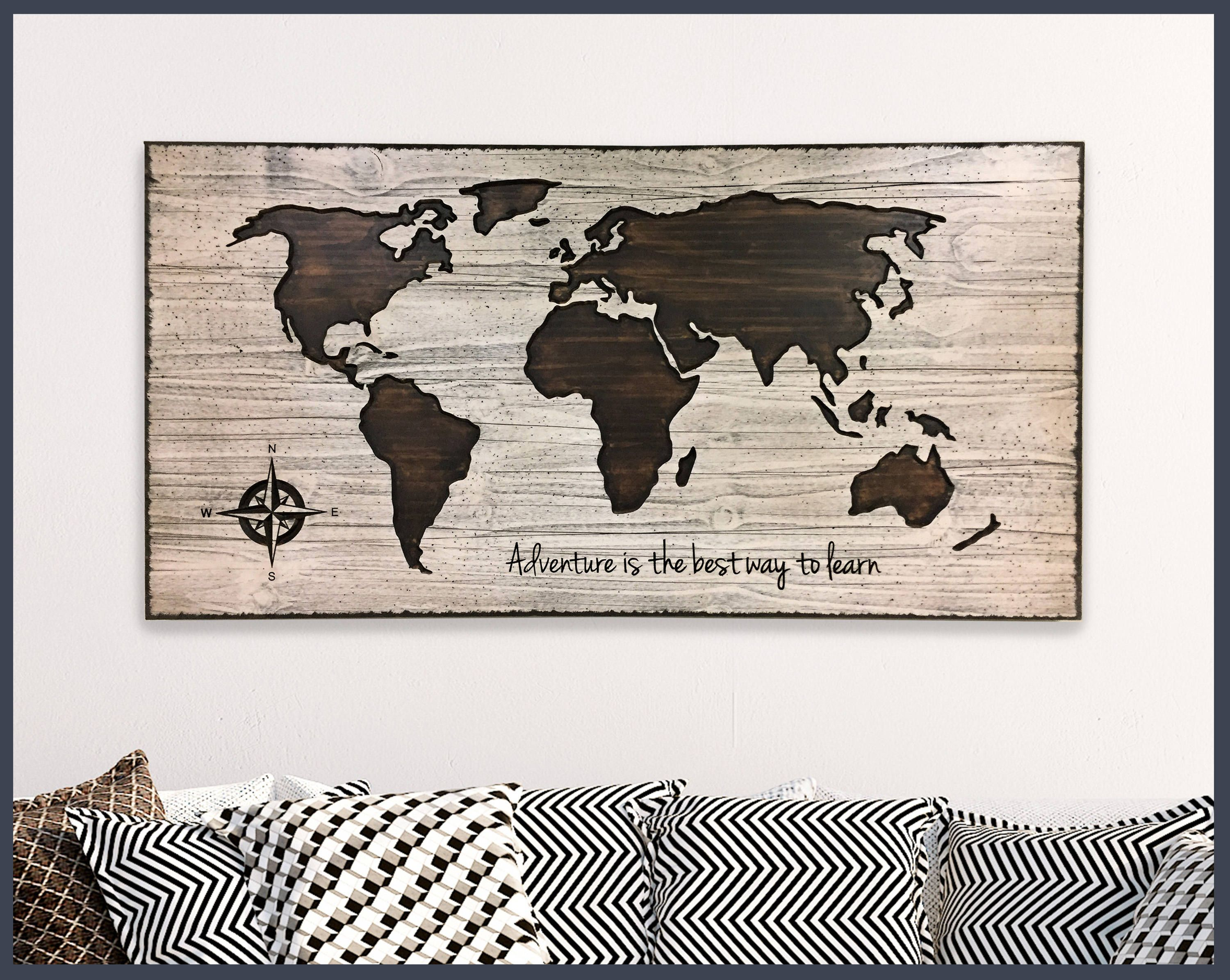 Map Wall Decor, Home Wall Decor, Wood Wall Art, Wooden Map, World Map Wall  Art, Adventure Quote, Custom Quote Sign, Push Pin Map, Office Art