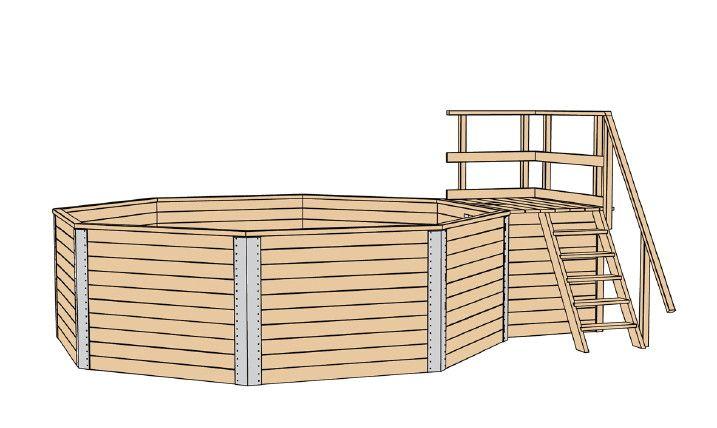 Holzpool WEKA Korsika - Schwimmbecken aus Holz Holz-Konstruktion