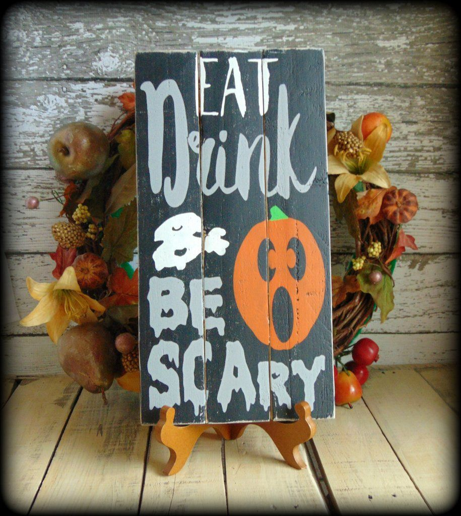 Rustic Pallet Sign Handmade Wooden Sign, Primitive Halloween - Homemade Halloween Decorations