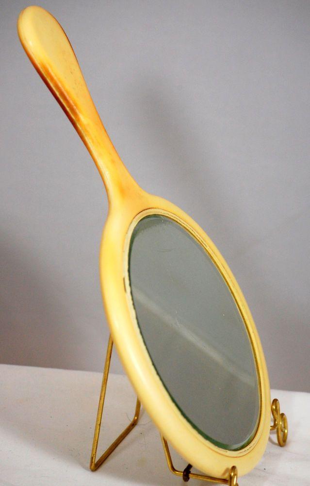 Vintage Art Deco Bakelite Or Celluloid  Hand Held Vanity Mirror