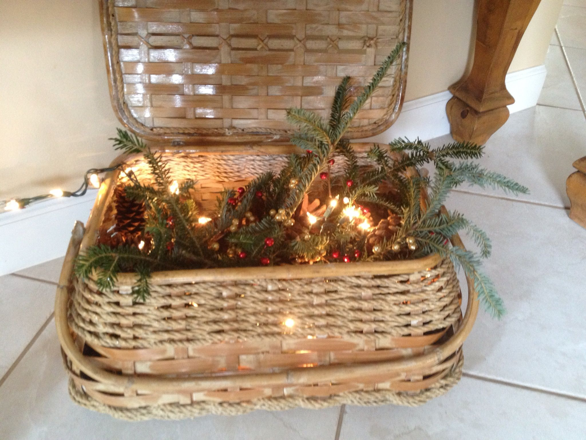 A string of white lights, pine cones, fresh greens from the Christmas tree place ( free!) and ...