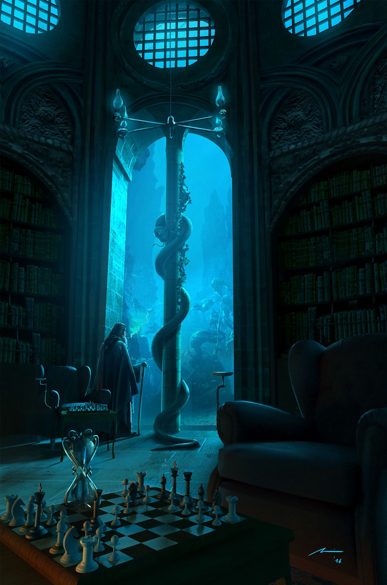 A Concept Art For Harry Potter Interpretation Of Slytherin Common