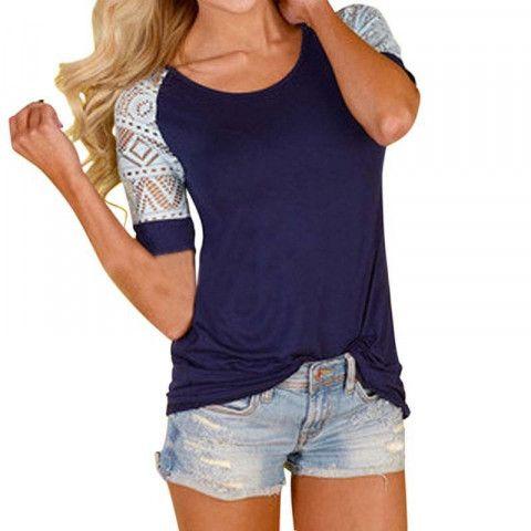 Tmavě modré dámské tričko s krajkovými rukávy EmaPošta Zdarma