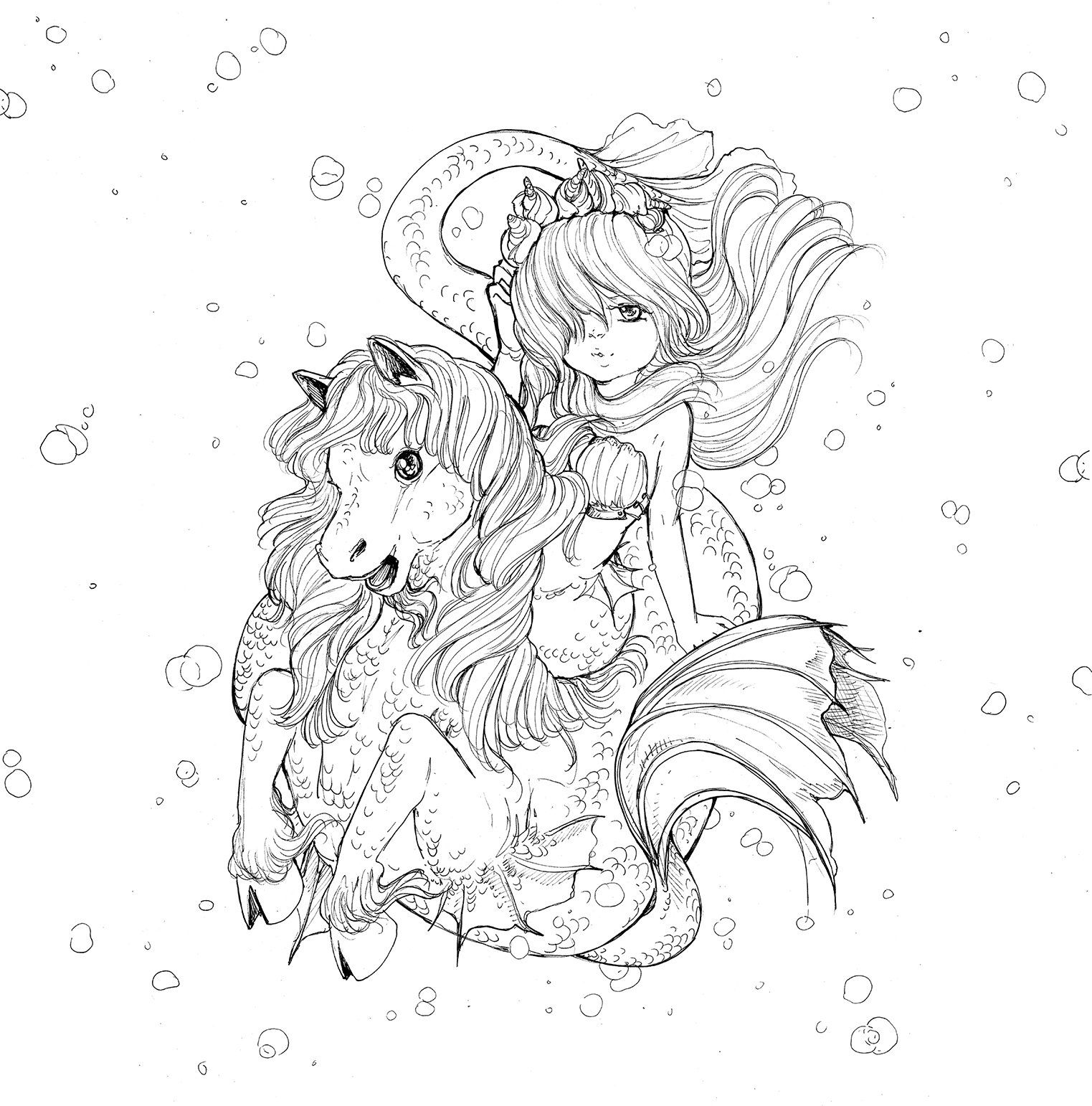 Pop Manga Mermaids And Other Sea Creatures Coloring Book Manga Coloring Book Mermaid Coloring Book Mermaid Coloring Pages