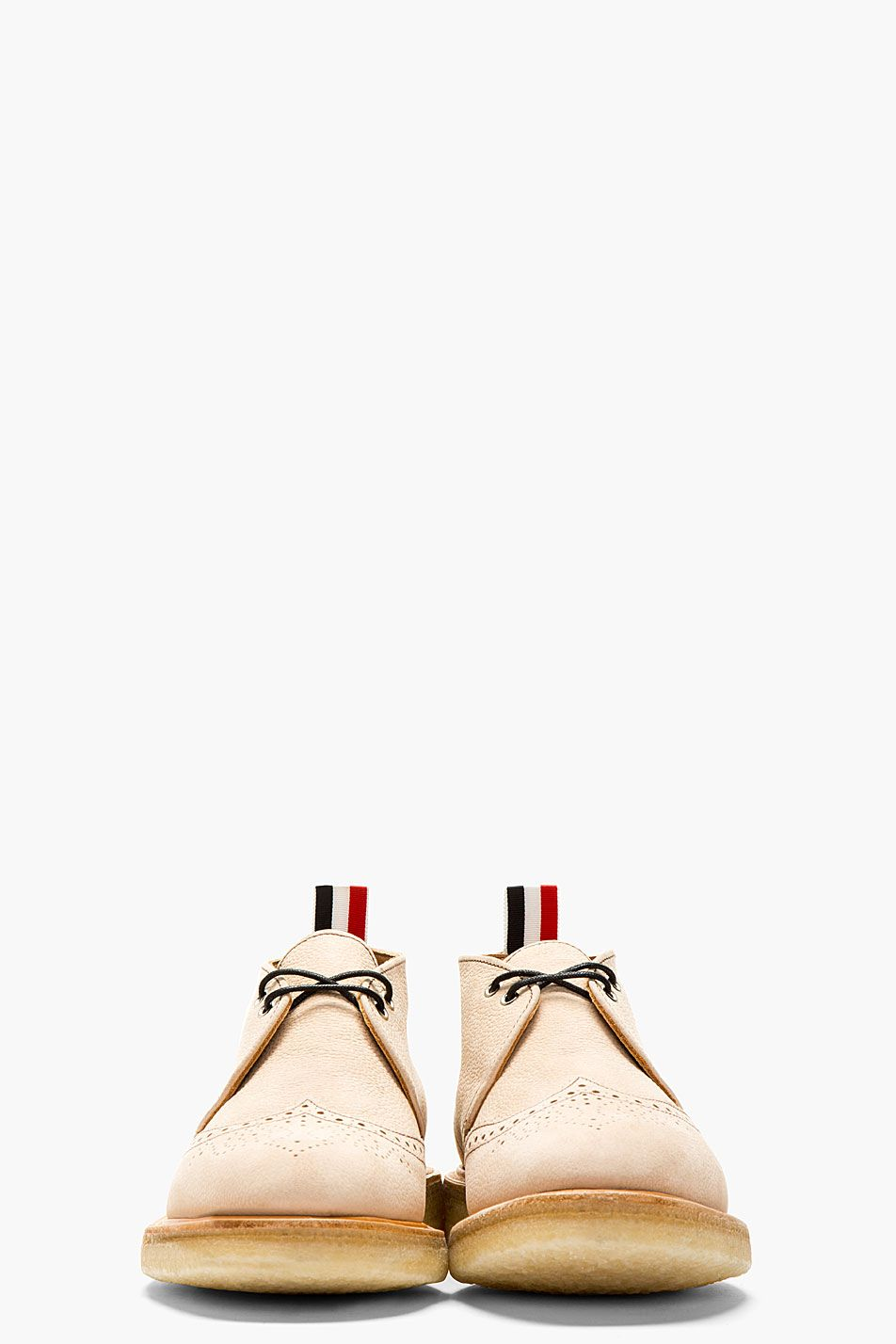 THOM BROWNE Tan Leather Brogued Desert Boots