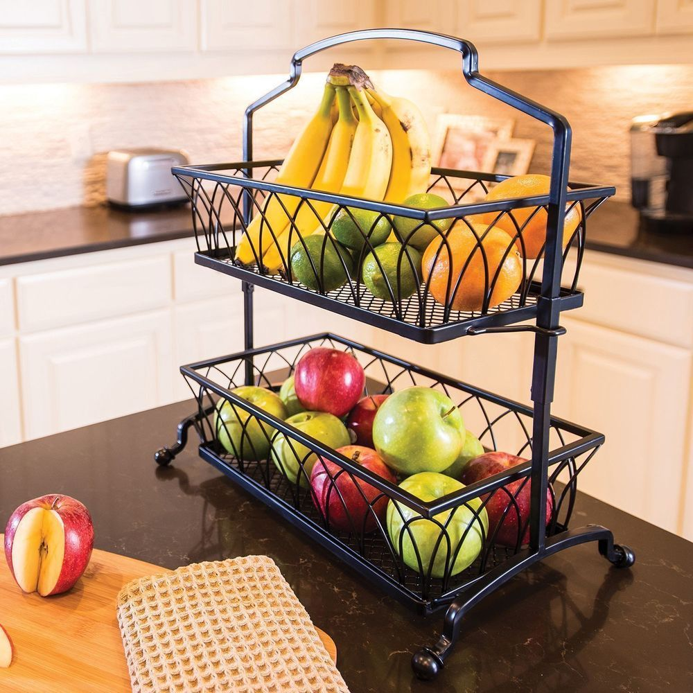 2-Tier Wrought Iron Wire Basket Storage Fruit Rack Holder Kitchen ...