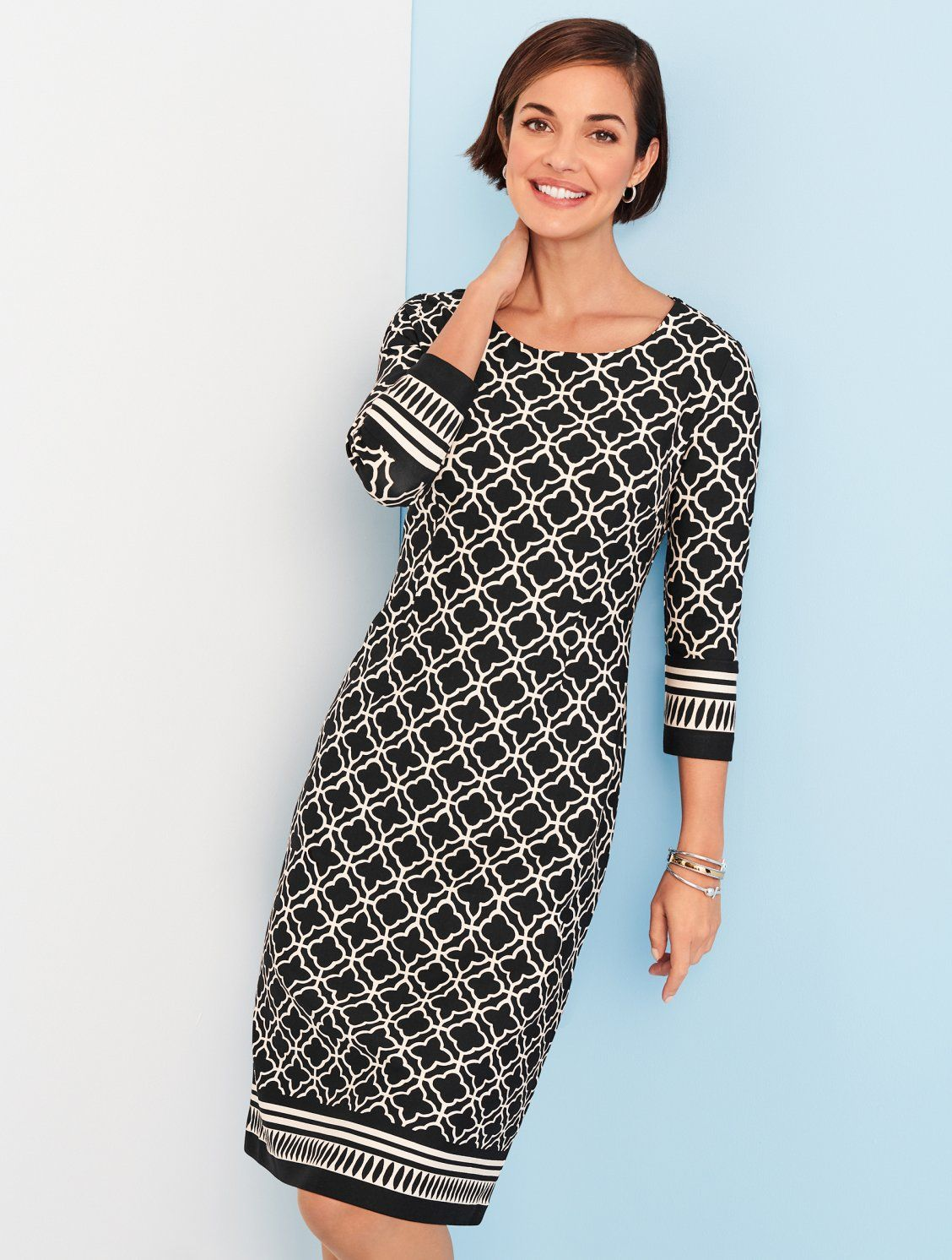 d93b94b0 An easy-to-wear sheath dress with an interesting geometric print is perfect  for days at the office, nights out, book clubs, and everything in between.