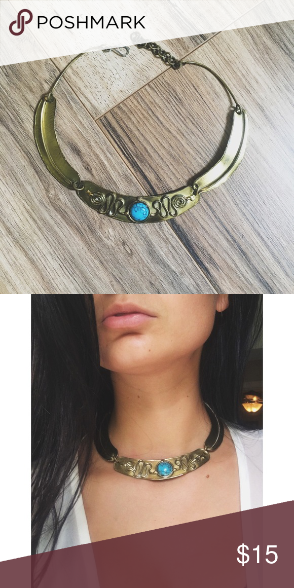 Turquoise Tribal Bohemian Choker Adjustable hook and eye clasp. Super cute addition to any boho look! Not listed brand used for exposure only! Free People Jewelry Necklaces