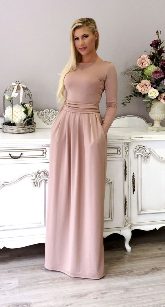 Maxi Dress Round Neck / Long Sleeves Pockets Sash Plain Cappuccino ...