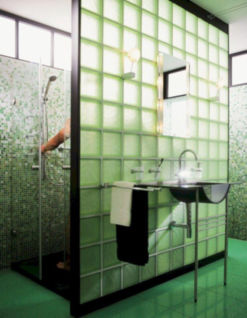 18 Modern Glass House Exterior Designs: 41 Amazing Glass Brick Shower Division Design Ideas