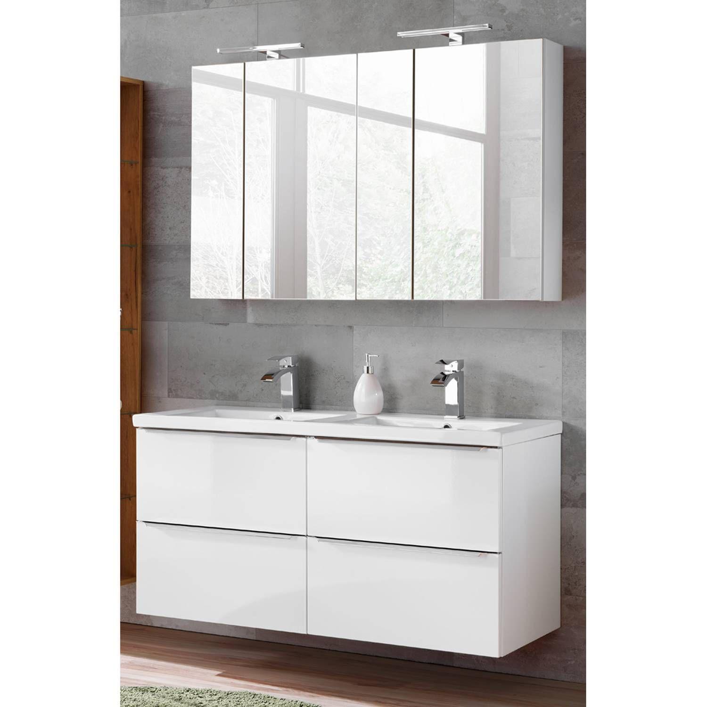 Badezimmer Serie Toskana 56 In Weiss Hochglanz Jetzt Selbst Zusammenstellen Spiegelschrank Waschtisch Und Waschbecken Armaturen