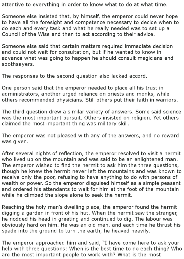 Grade 8 Reading Lesson 24 Short Stories Three Questions 1