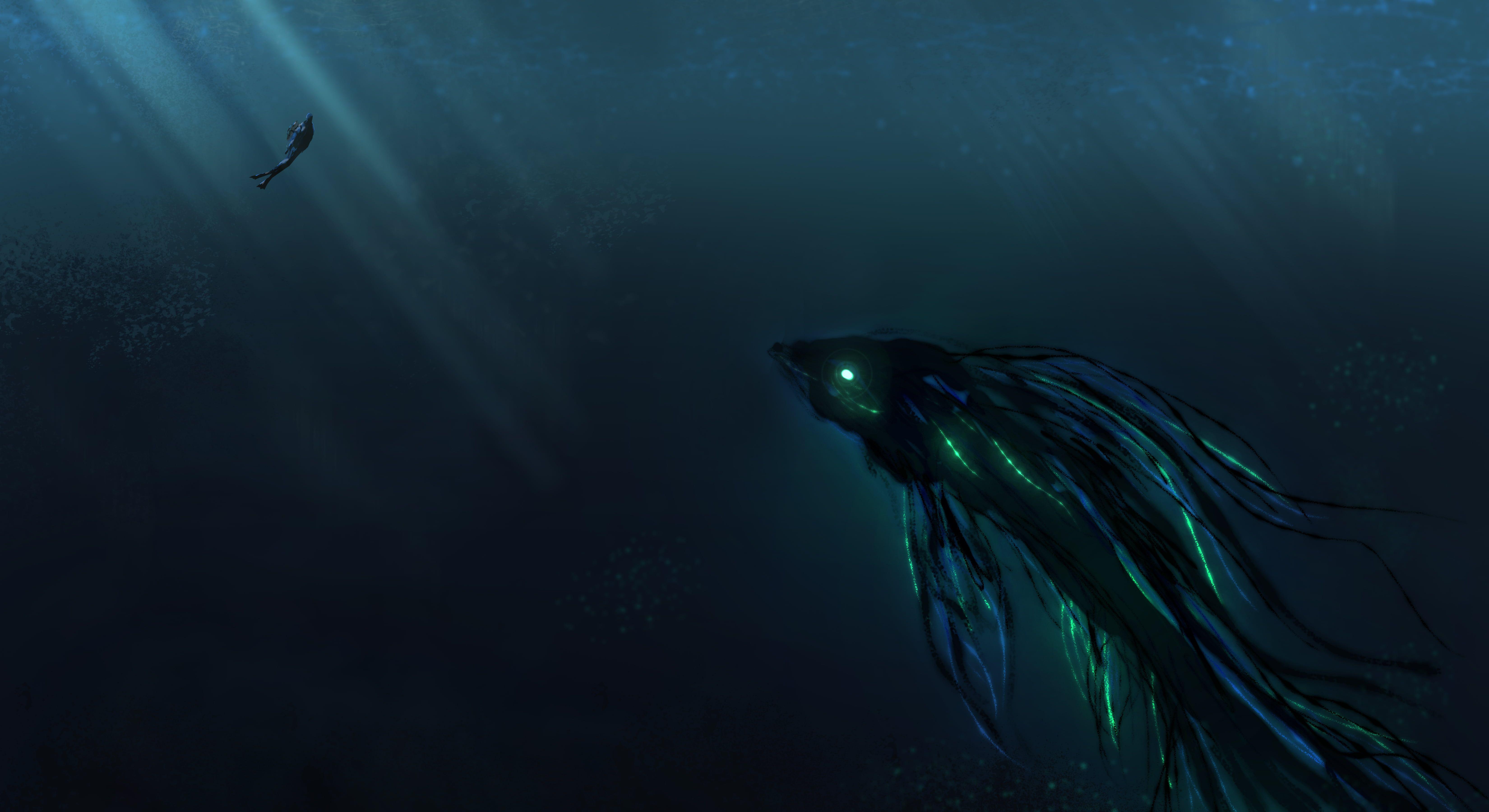 Sea Monster Wallpaper High Resolution Sea Monsters Sea Illustration Underwater Painting