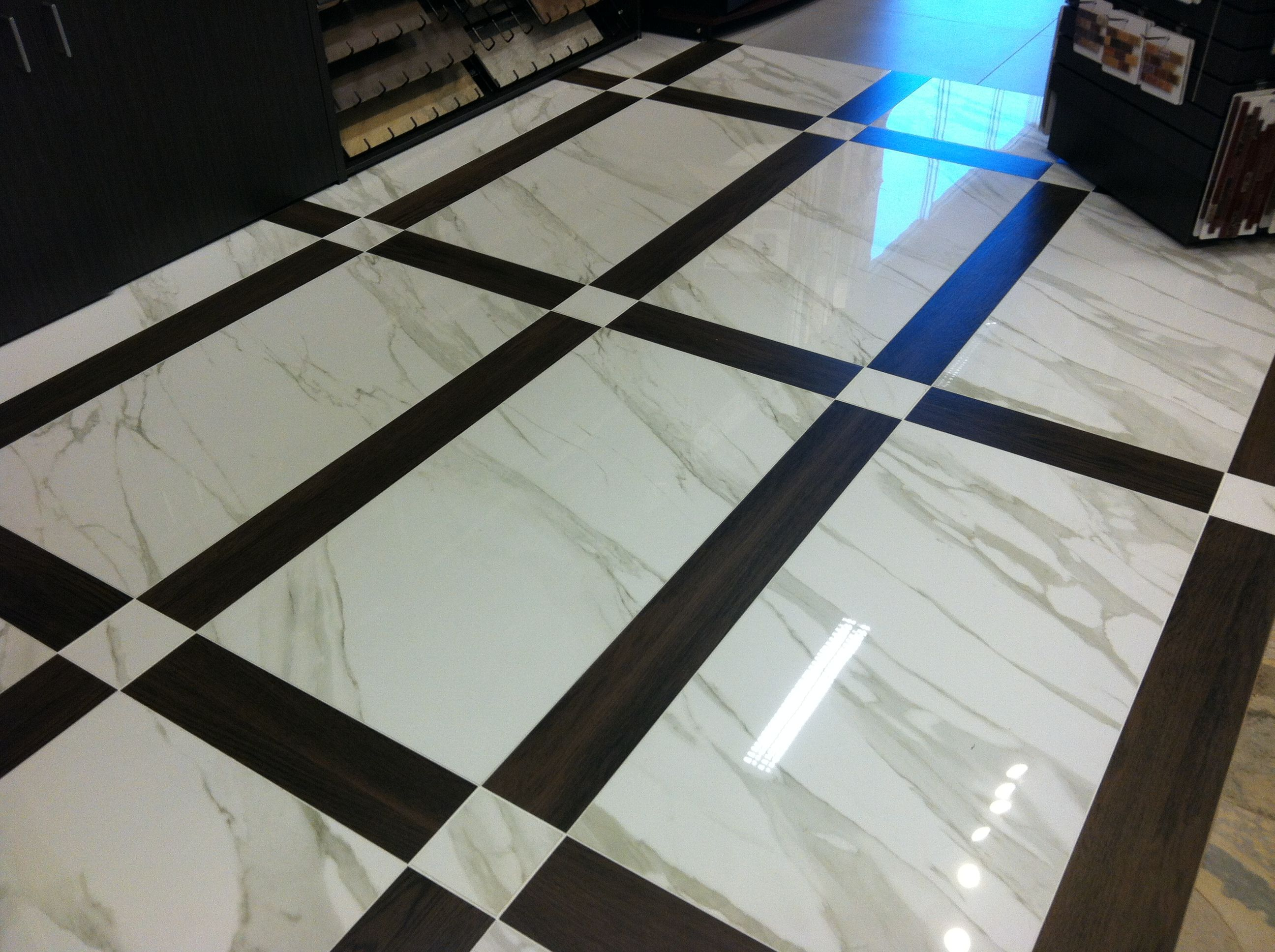 Unique marble and wood tile pattern New take on black and white ...