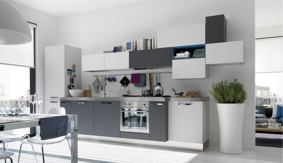 Grey And Blue Galley Kitchen grey & white kitchen with blue highlight @ www.dandsfurniture