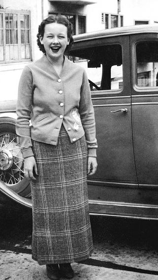 +~+~ Vintage Photograph ~+~+ Teenage girl in the 1930s in front of her Dad's car.