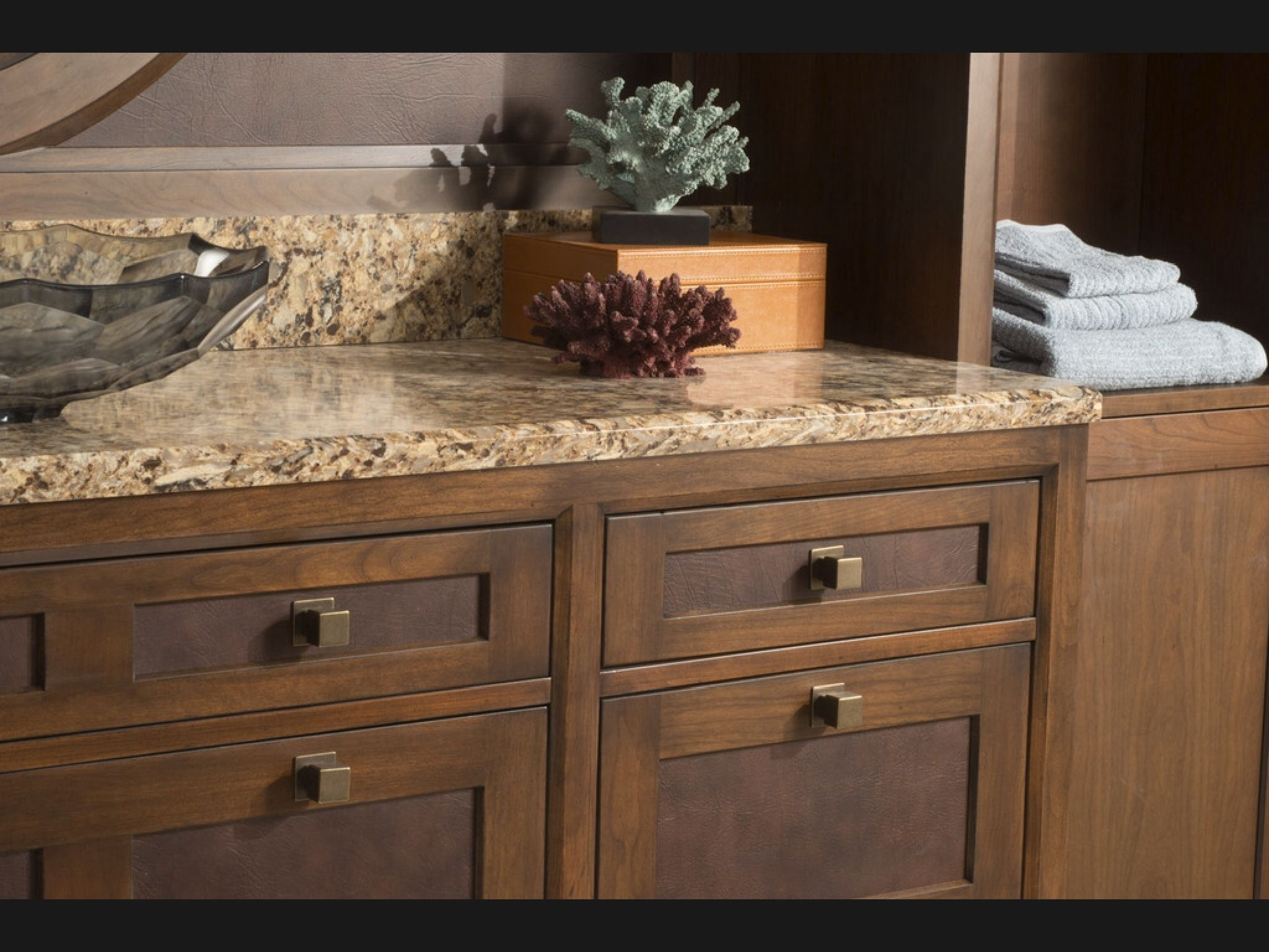 Cherry Cabinetry With Leather Inserts By Woodmode In New Morningside Theme Wood Mode Inset Cabinets Custom Cabinets