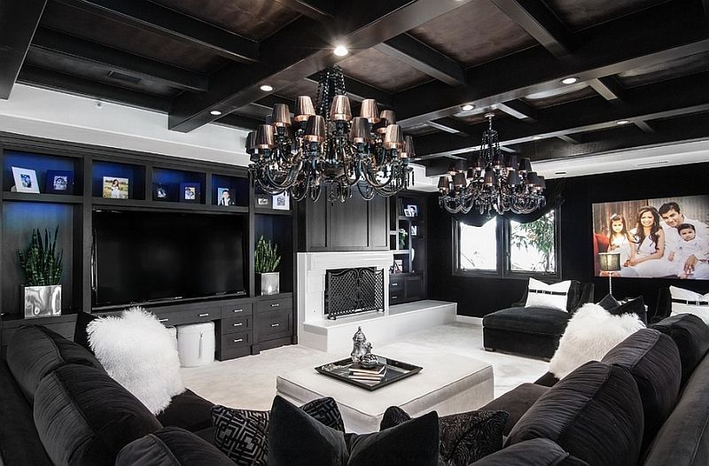 Luxurious Contemporary Family Room In Black And White Looks Truly Stunning Living Rooms Charismatic Style Timeless Elegance