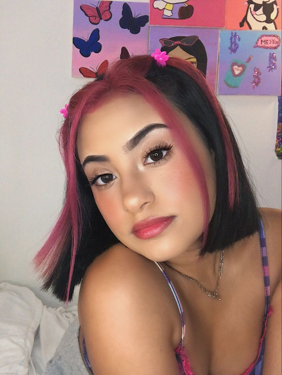 Black Short Hair Two Front Pieces Dyed Pink In 2020 Front Hair Styles Hair Inspo Color Black Hair Dye