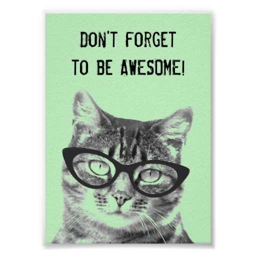 Don T Forget To Be Awesome Poster With Cute Cat Zazzle Com