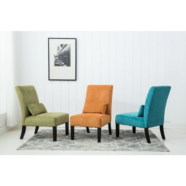 Lovely Pisano Chenille Fabric Armless Contemporary Accent Chair With Matching  Kidney Pillow | Overstock.com Shopping · Slipper ChairsLiving Room ...