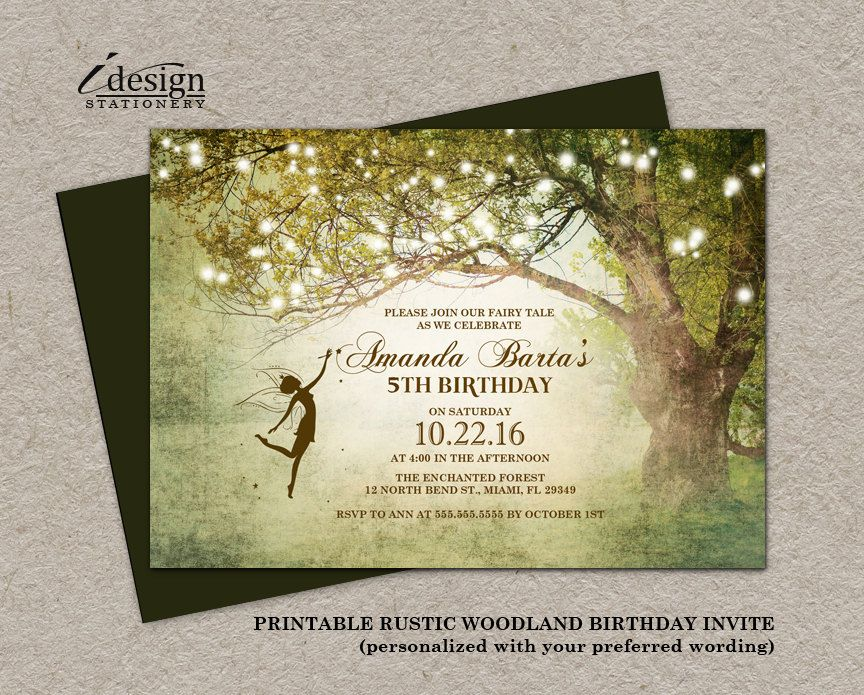 design birthday party invitations free%0A Featuring An Enchanted Fairy Themed Tree Design With Fairy Lights By  iDesignStationery Via Etsy  Find this Pin and more on Birthday Party  Invitation