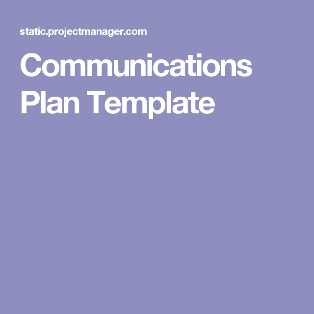 Communications Plan Template  Work  Public Relations