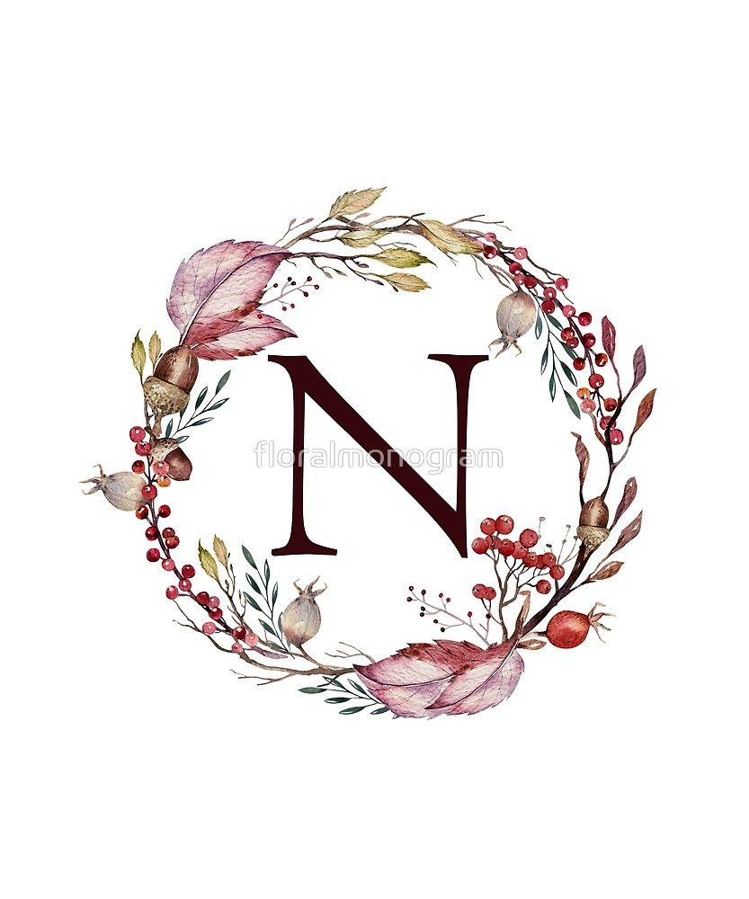 Monogram N Autumn Flowers And Folliage Sticker By Floralmonogram Monogram Wallpaper Sunflower Wallpaper Monogram
