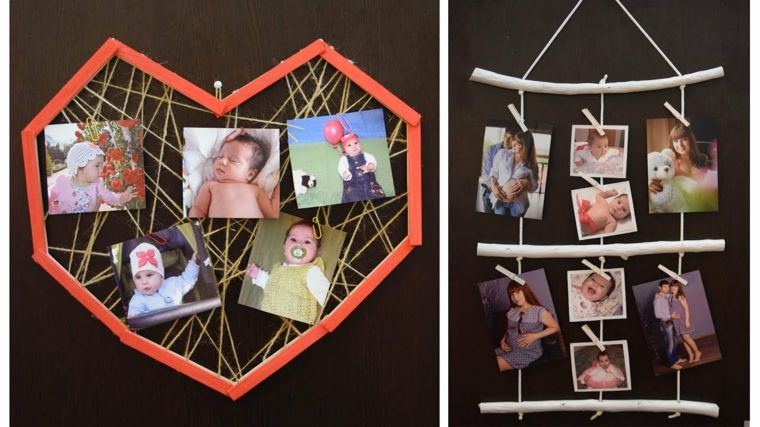 Portafoto multiplo da parete fai da te con legno e fili su