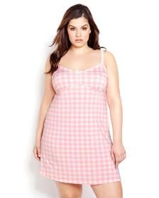 Gingham Print Nightdress - Déesse Collection
